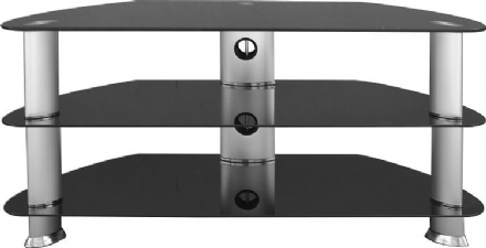 Harley TV Stand in Black Glass/Silver